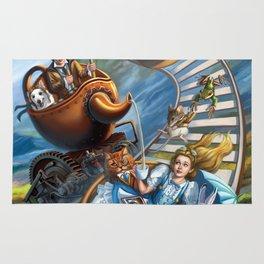 Steampunk Alice in Wonderland Teacups  Rug