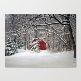Red Barn in the Snow 2011 Canvas Print