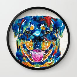 Colorful Rottie Art - Rottweiler by Sharon Cummings Wall Clock