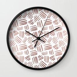 Elegant faux rose gold modern geometric stripes Wall Clock
