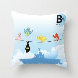 Silly Birds above Berlin - 01 Brandenburger Tor Throw Pillow