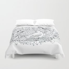 Sketched bird and flowers Duvet Cover