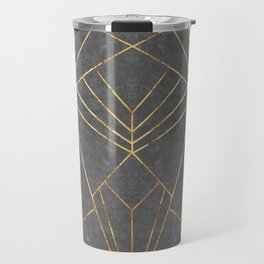 Art Deco in Gold & Grey - Large Scale Travel Mug