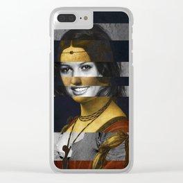 """Leonardo Da Vinci """"Belle Ferronniere"""" & Claudia Cardinale Clear iPhone Case"""