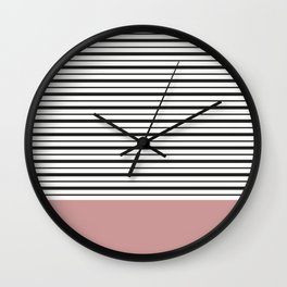 SAILOR STRIPES WITH PINK Wall Clock