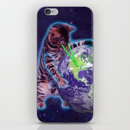 Cat destroying the world with eye laser iPhone Skin