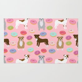 Pitbull dog breed donuts doughnut dog art pibble dog lover rescue pupper Rug