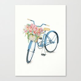 Blue Bicycle with Flowers in Basket Canvas Print