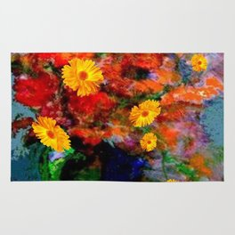 STILL LIFE PAINTING RED & YELLOW FLOWERS Rug
