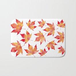 Maple leaves white Bath Mat