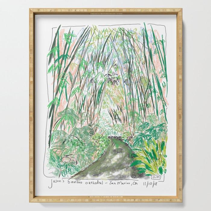 Bamboo Cathedral Sketch - San Marino CA Serving Tray
