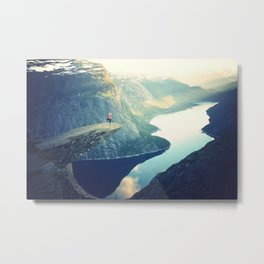 Cliff Yoga Travel Photo Metal Print