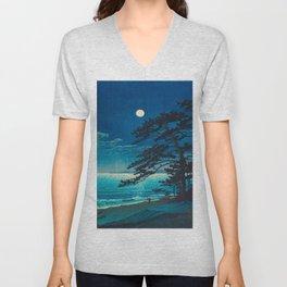 Vintage Japanese Woodblock Print Moonlight Over Ocean Japanese Landscape Tall Tree Silhouette Unisex V-Neck