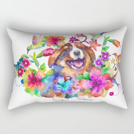 Puppy smile in flowers Rectangular Pillow