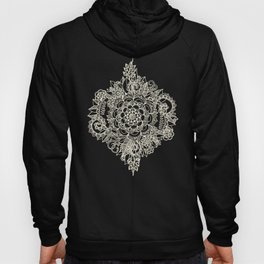Cream Floral Moroccan Pattern on Deep Indigo Ink Hoody
