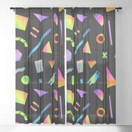 Neon Gradient Postmodern Shapes Sheer Curtain