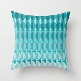 Leaves in the moonlight - a pattern in teal Throw Pillow