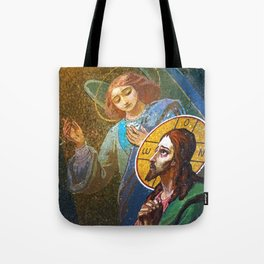 The image of Jesus Christ in a fresco -  Russia Tote Bag