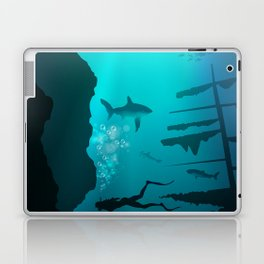 Beautiful coral reef and silhouettes of diver and school of fish in a blue sea Laptop & iPad Skin