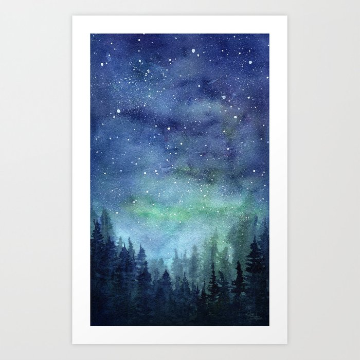Watercolor Galaxy Nebula Northern Lights Painting Art Print