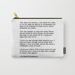 F Scott Fitzgerald quote Carry-All Pouch