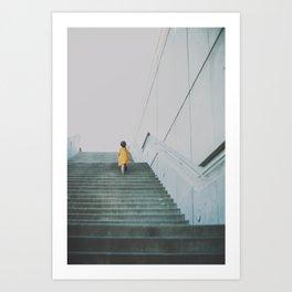 A girl in a yellow dress Art Print