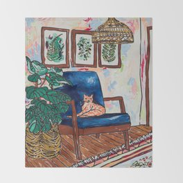 Ginger Cat on Blue Mid Century Chair Painting Throw Blanket