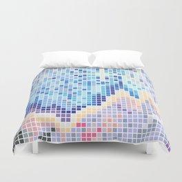Pixelated Nebula Blue Duvet Cover