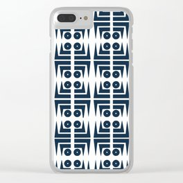 Navy blue aztec pattern Clear iPhone Case