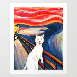 Cat surprise Art Print