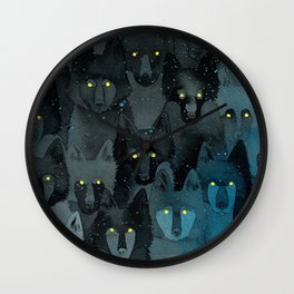 In the Company of Wolves Wall Clock