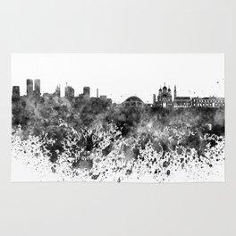 Tallinn skyline in black watercolor on white background Rug