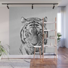 Tiger - Black & White Wall Mural