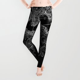 Hong Kong Black Map Leggings