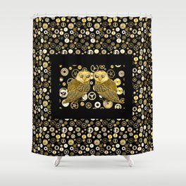 Cogs and Owls Shower Curtain