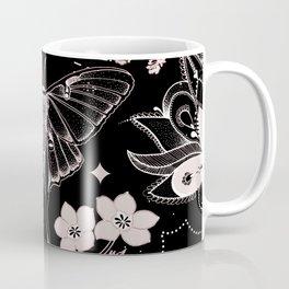 Bohemian Luna Moth On Black Coffee Mug