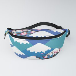 Spring Nature background with Japanese cherry blossoms, sakura pink flowers landscape. blue mountain Fanny Pack
