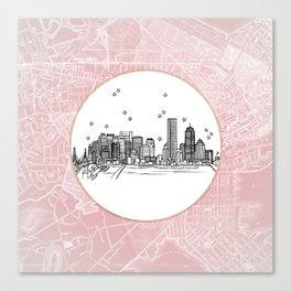 Boston, Massachusetts City Skyline Illustration Drawing Canvas Print