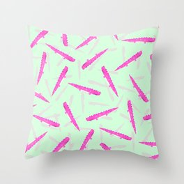Modern neon pink green girly cute funny alligator pattern Throw Pillow