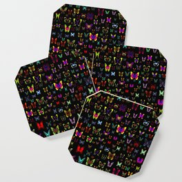 Numerous colorful butterflies on a neutral background Coaster