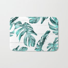 Turquoise Palm Leaves on White Wood Bath Mat
