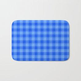 Bright Blue Plaid Pattern Bath Mat