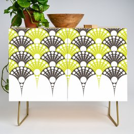 brown and lime art deco inspired fan pattern Credenza