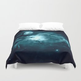 Teal Orion nebula : Hauntingly Beautiful Space Series Duvet Cover