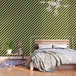 Black and Yellow Diagonal Stripes Wallpaper
