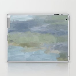 Diptych II - Sky Gray Blue Sage Green Abstract Wall Art, Painting Art, Lake Nature Print Portrait Laptop & iPad Skin