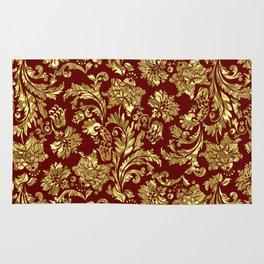 Red & Gold Floral Damasks Pattern Rug