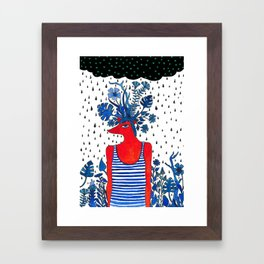 Flowery fox Framed Art Print