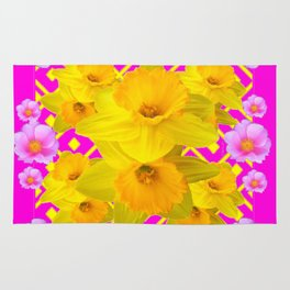 Colorful Fuchsia Pink Roses & Gold Daffodils Rug