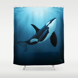 """The Dreamer"" by Amber Marine ~ Orca / Killer Whale Art, (Copyright 2015) Shower Curtain"